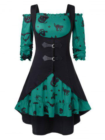 Plus Size A Line Off The Shoulder Halloween Vintage Dress with Solid Vest - SEA TURTLE GREEN - 2X