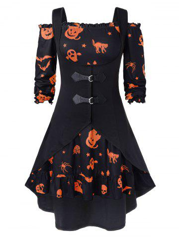 Plus Size A Line Off The Shoulder Halloween Vintage Dress with Solid Vest