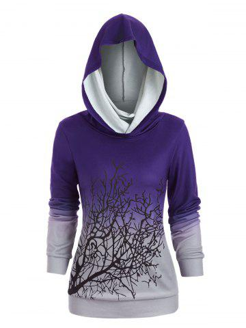 Sweat-shirt d'Halloween Arbre Imprimé à Col Convertible