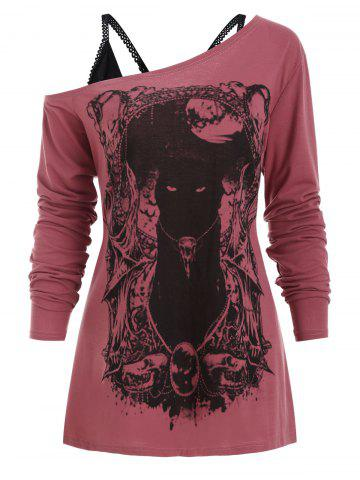 Cat Long Sleeves Gothic Tee with Cami Top