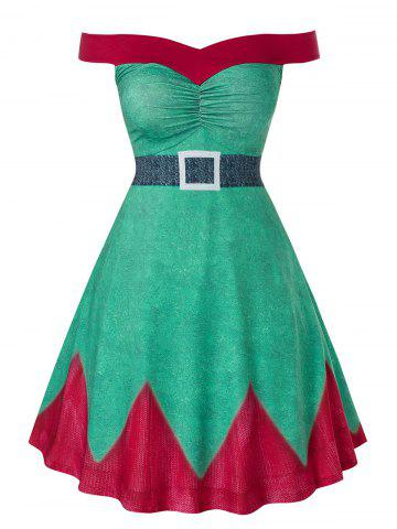 Plus Size Fit And Flare High Waist Christmas Mini Dress - GREEN SNAKE - 2X