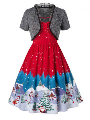 Plus Size Christmas Vintage Snowman Tree Print Party Dress - RED - L