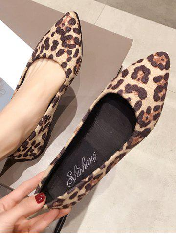 Leopard Print Pointed Toe Ballet Flats