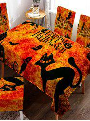 Halloween Digital Print Cat Pumpkin Ghost Fabric Tablecloth -