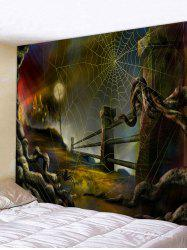 Halloween Night Spider Web Print Wall Tapestry -