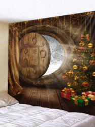 Christmas Tree Gifts Door Print Wall Tapestry -