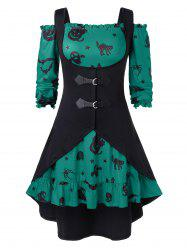 Plus Size A Line Off The Shoulder Halloween Vintage Dress with Solid Vest -