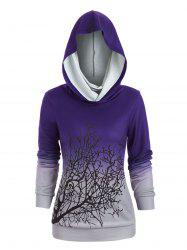 Sweat-shirt d'Halloween Arbre Imprimé à Col Convertible - Pourpre  L