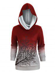 Sweat-shirt d'Halloween Arbre Imprimé à Col Convertible - Rouge Vineux S