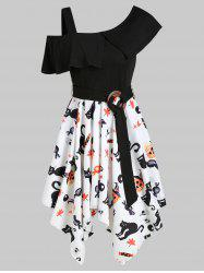 Halloween Pumpkin Skull Skew Neck Asymmetrical Dress -