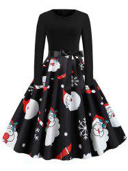 Christmas Belted Knee Length Dress -