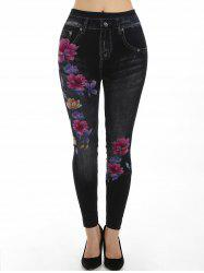 Floral Print High Waisted Slim Jeggings -