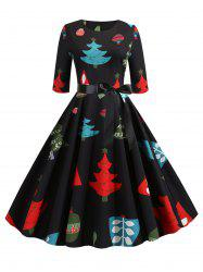 Christmas Tree Print Belted Party Dress -