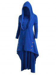 Plus Size Cowl Neck High Low Long Hoodie -