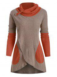 Colorblock Cowl Neck Overlap Long Sleeves Knitwear -