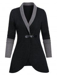 Shawl Collar Contrast Ribbed Buckle Strap Cardigan -