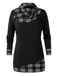 Plus Size Tunic Checked Panel Cowl Collar T Shirt -
