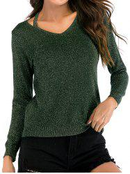 V Neck Sparkly Long Sleeves Knitwear -