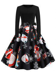 Santa Claus Reindeer Belted Christmas Long Sleeves Dress -