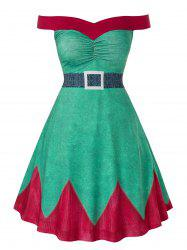 Plus Size Fit And Flare High Waist Christmas Mini Dress -