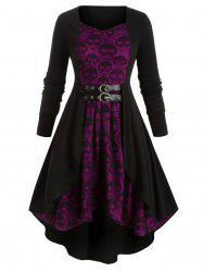 Plus Size Skull Lace High Low Dress -