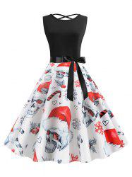 Skull Belted Sleeveless Halloween Christmas Dress -