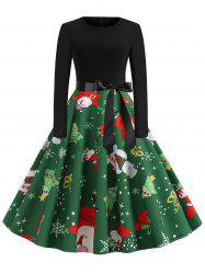 Plus Size Vintage Christmas Printed Party Swing Dress -