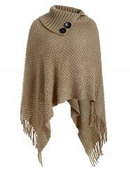 Mock Button Fringed Solid Cape Sweater -