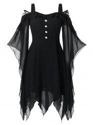 Plus Size Halloween Butterfly Sleeve Lace Up Handkerchief Gothic Dress -