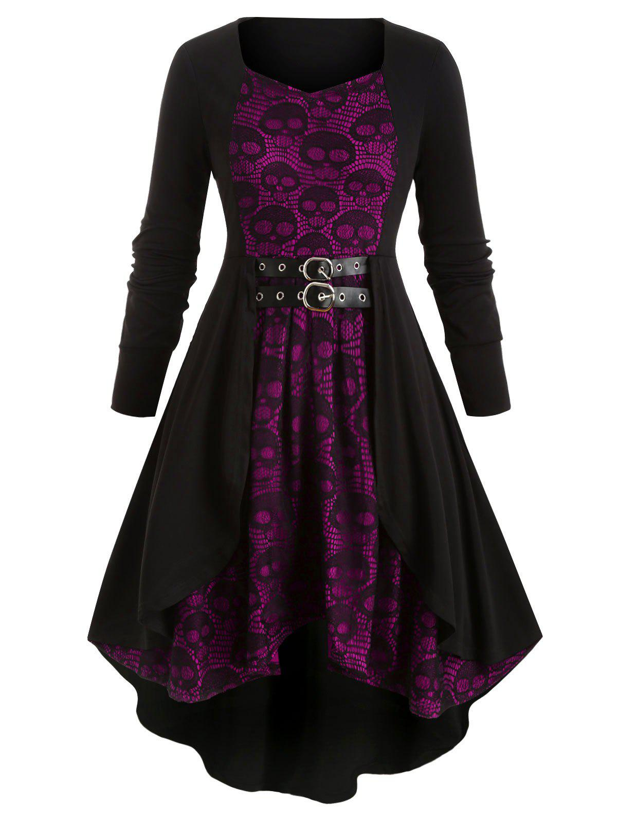 Outfit Plus Size Skull Lace High Low Dress
