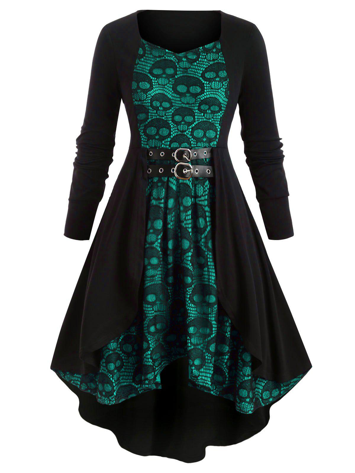 Trendy Plus Size Skull Lace High Low Dress