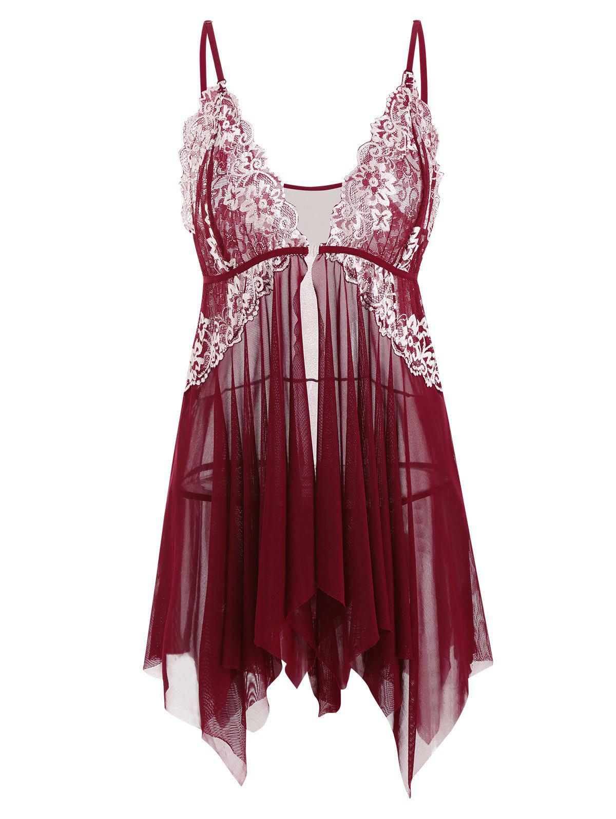 Outfits Plus Size Front Closure Lace Panel Mesh Handkerchief Babydoll