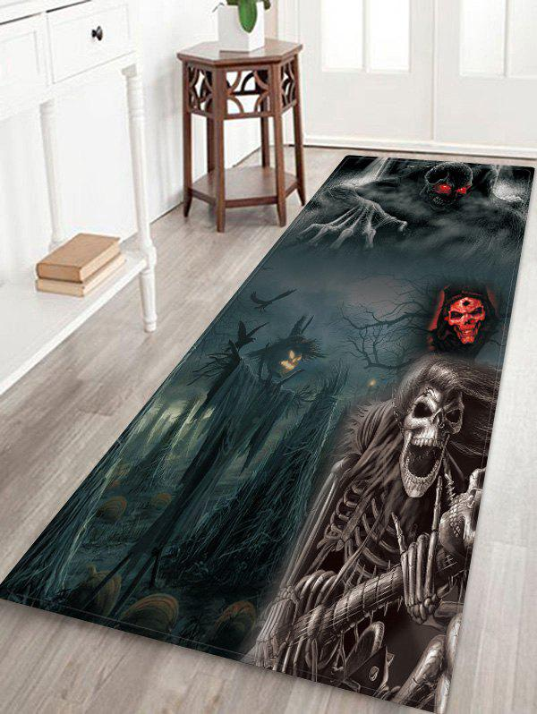 Affordable Halloween Gothic Ghost Pattern Print Flannel Floor Mat