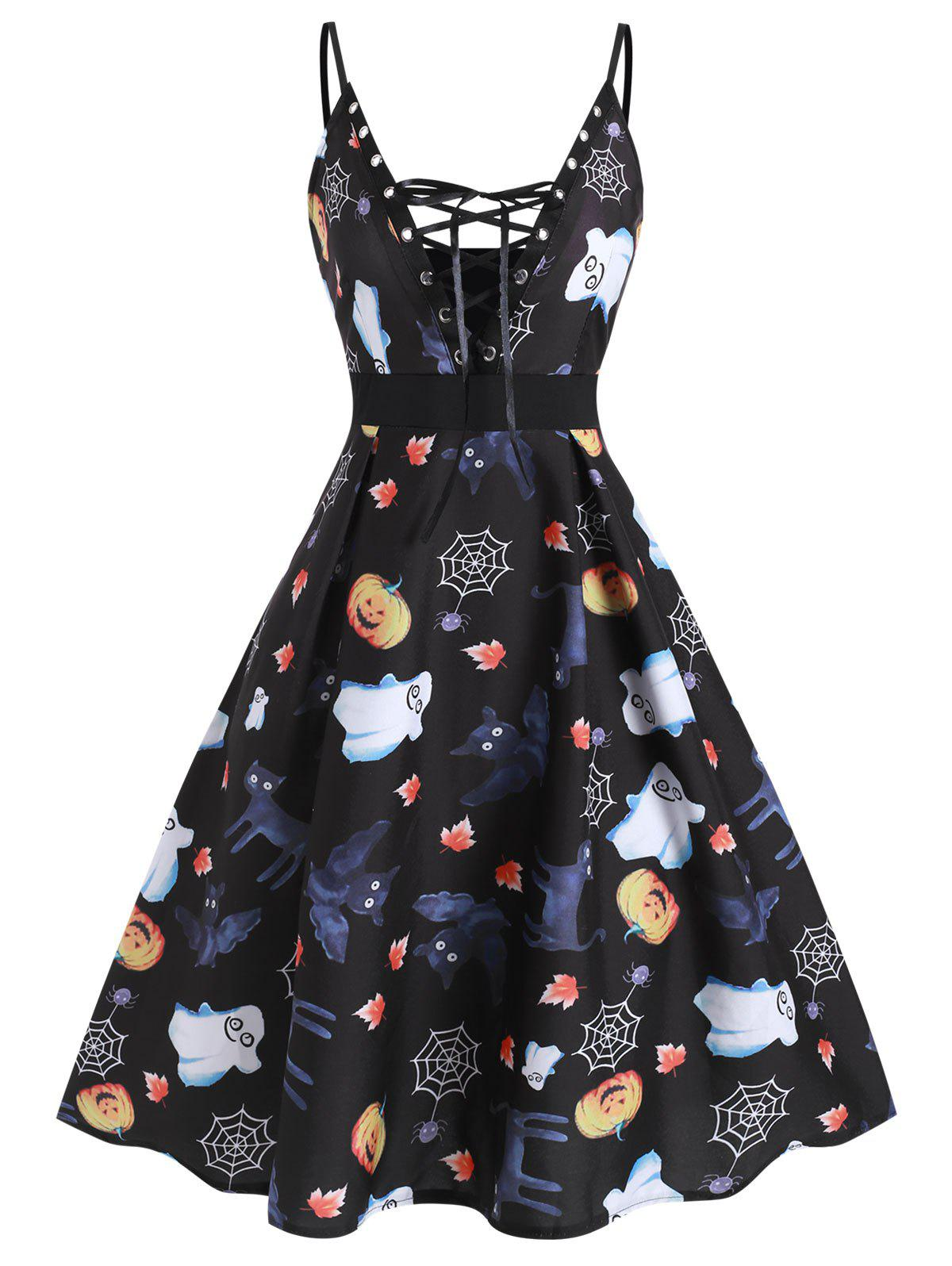 Trendy Halloween Pumpkin Spider Print Lace Up Dress