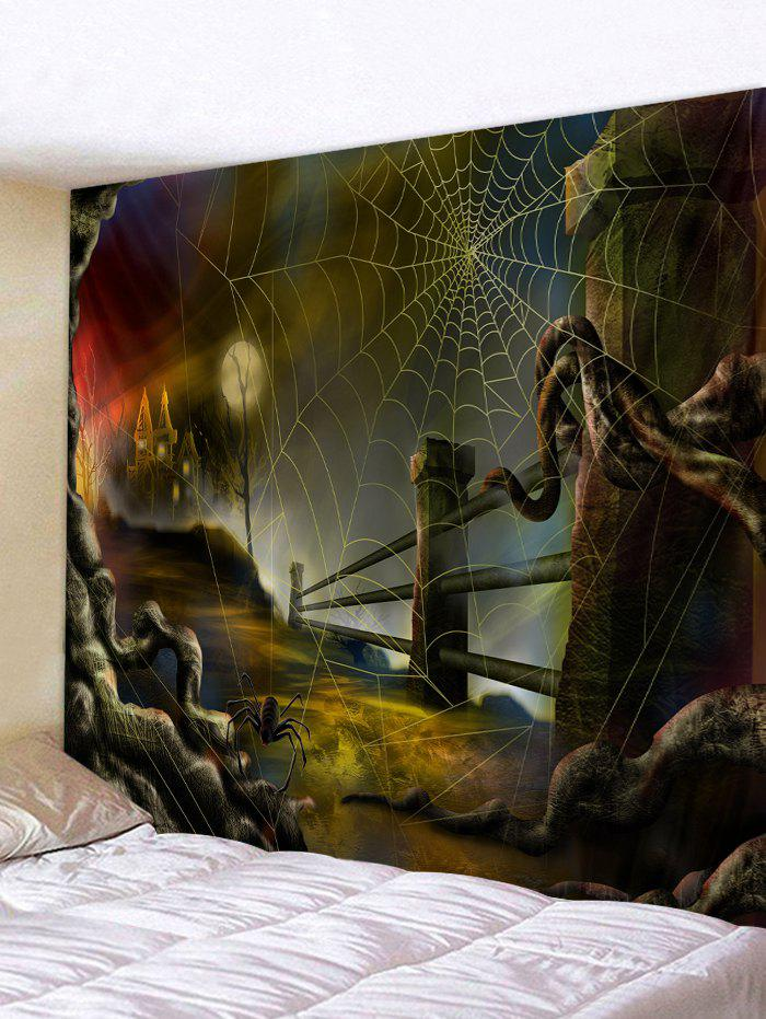 New Halloween Night Spider Web Print Wall Tapestry