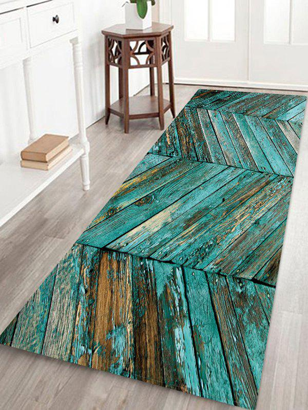 Cheap Plank Pattern Print Flannel Floor Mat