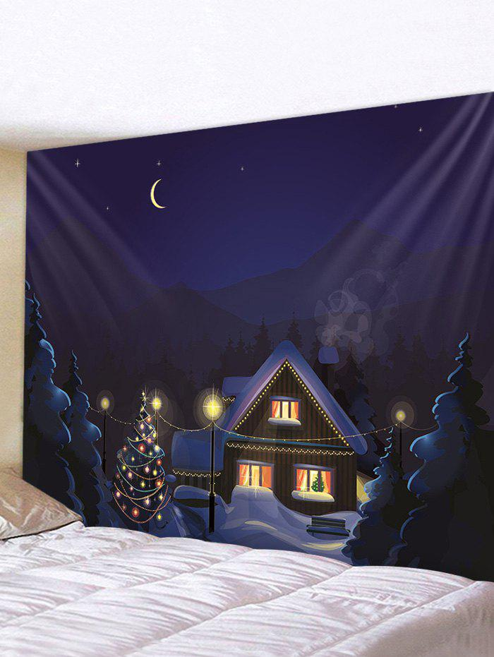 Sale Christmas Tree Snow House Print Wall Tapestry