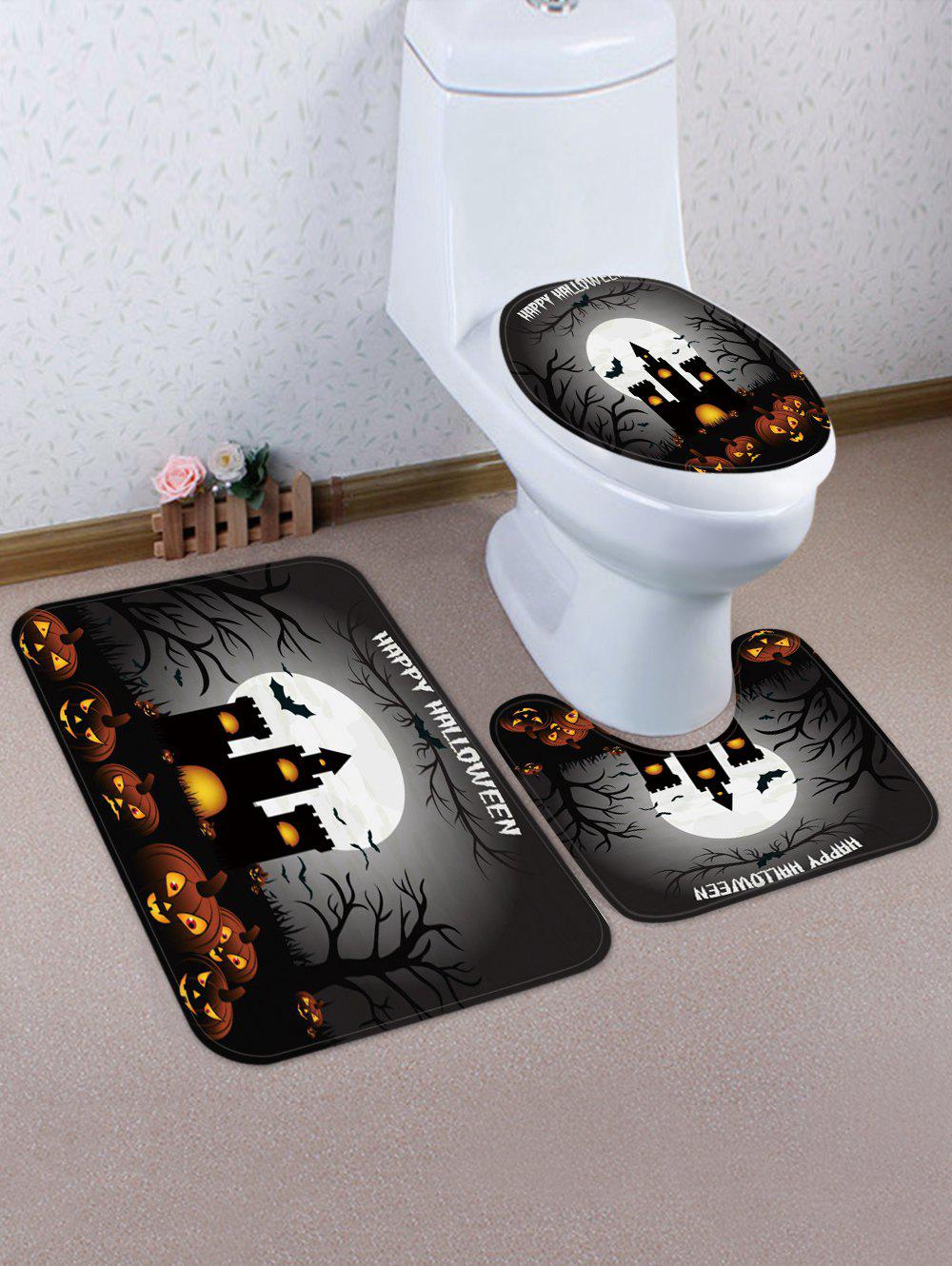 Halloween Pumpkin Castle 3 Pcs Tapis De Toilette