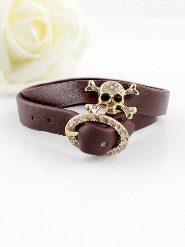 Buy Rhinestone Skull Buckle PU Layers Bracelet