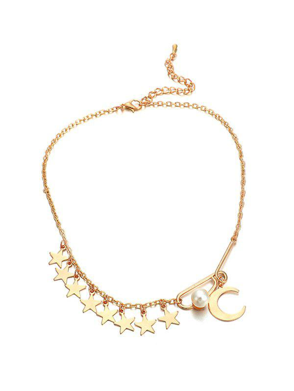 Cheap Stars Pearl Chain Adjustable Choker Necklace