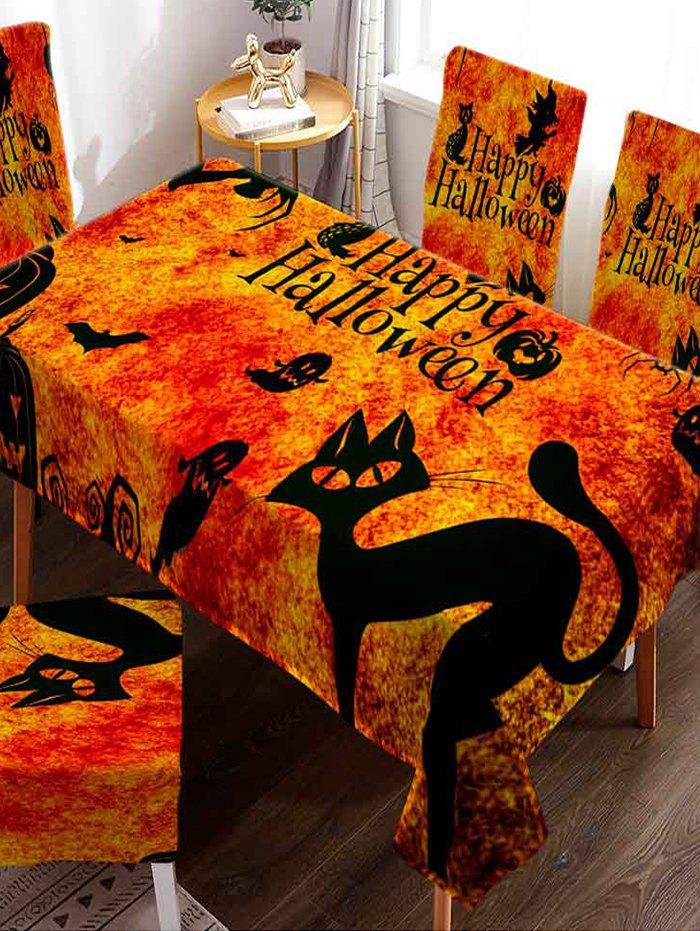 Fashion Halloween Digital Print Cat Pumpkin Ghost Fabric Tablecloth