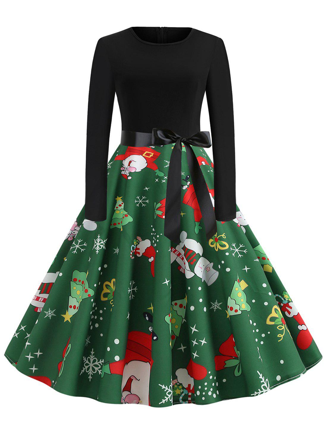 Chic Plus Size Vintage Christmas Printed Party Swing Dress