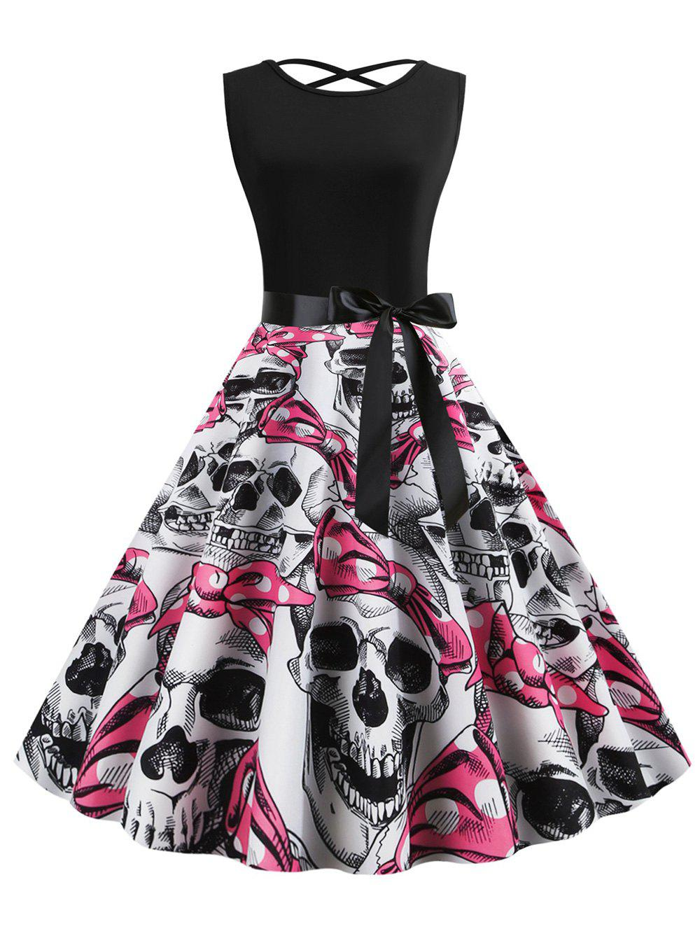 Latest Plus Size Halloween Criss Cross Skull Print Vintage Dress