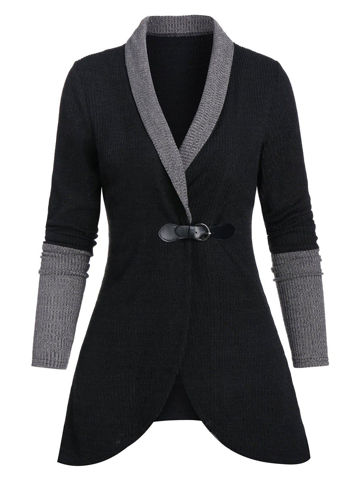 Trendy Shawl Collar Contrast Ribbed Buckle Strap Cardigan