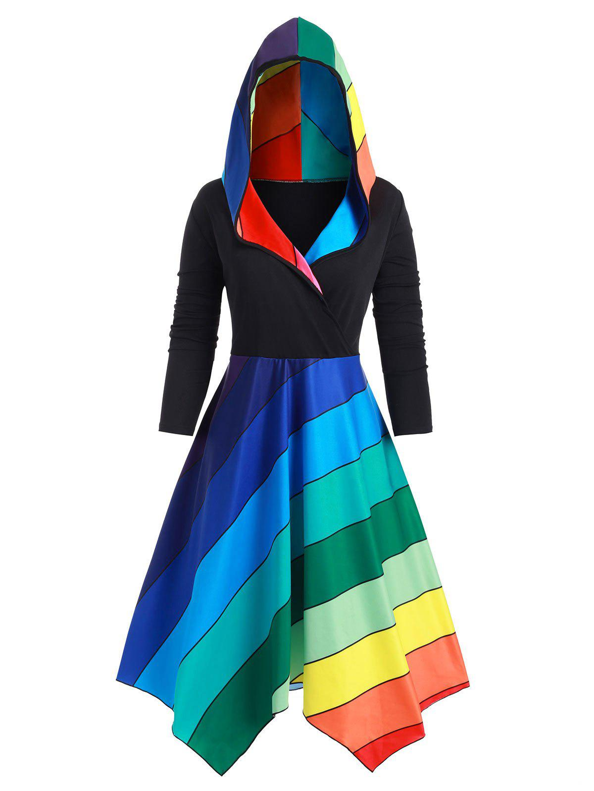 Store Plus Size Hooded Rainbow Stripe Long Coat