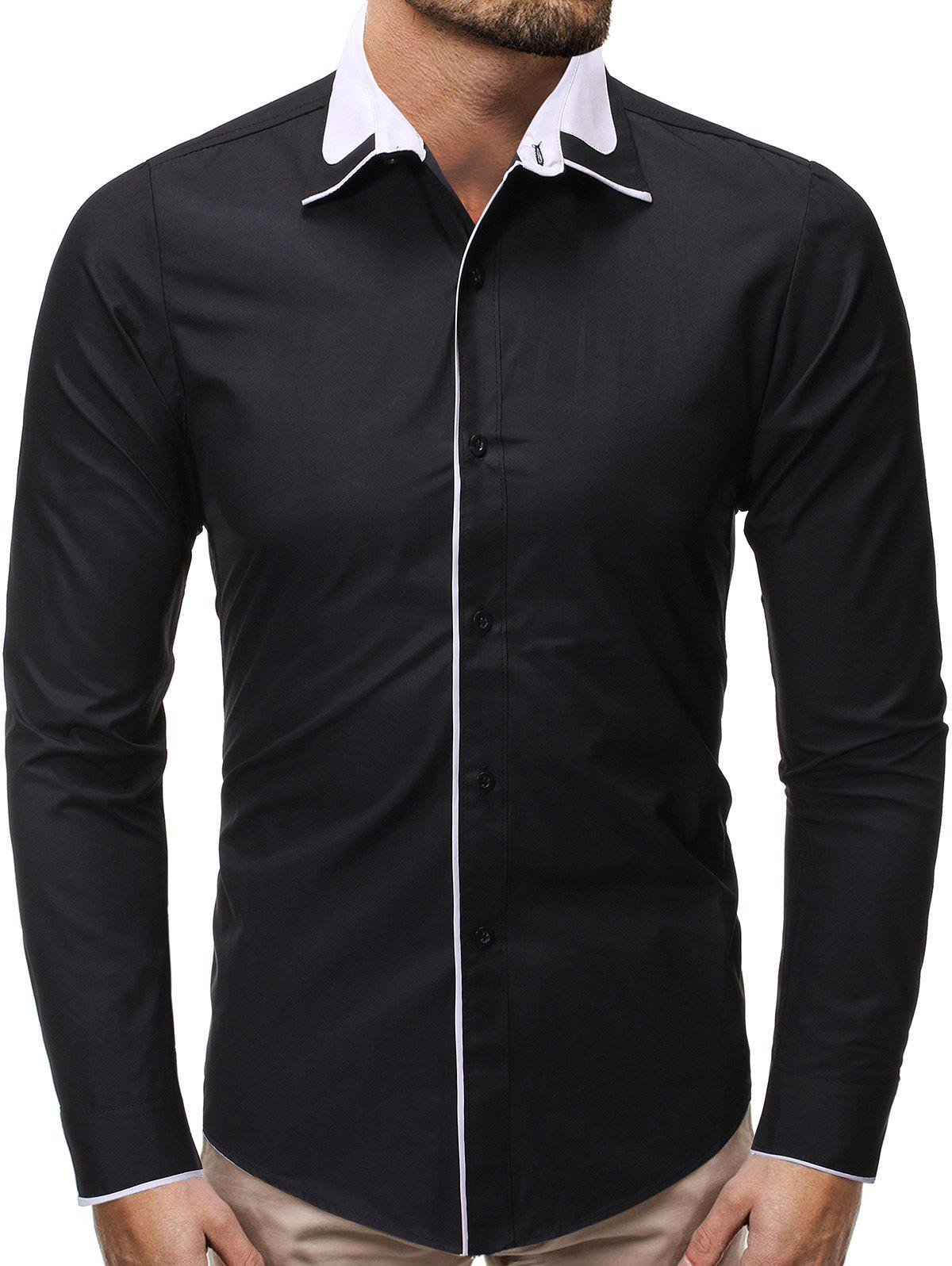 Best Color Spliced Button Up Casual Shirt