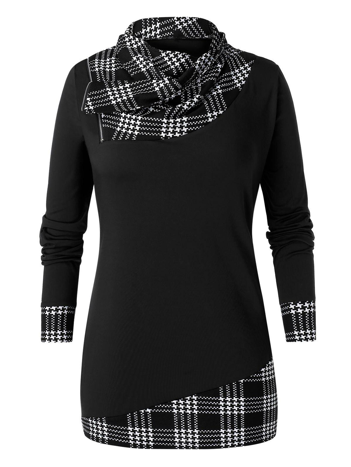 Online Plus Size Tunic Checked Panel Cowl Collar T Shirt