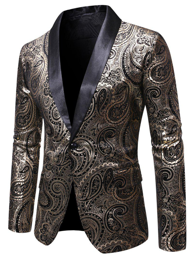 Unique Paisley Gilding Printed Long Sleeves Blazer