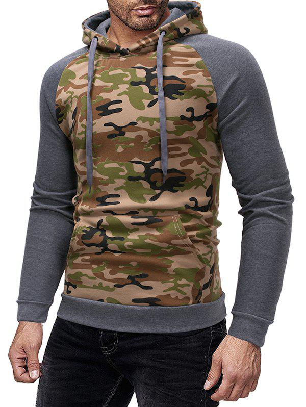 Buy Camouflage Print Spliced Raglan Sleeve Drawstring Hoodie