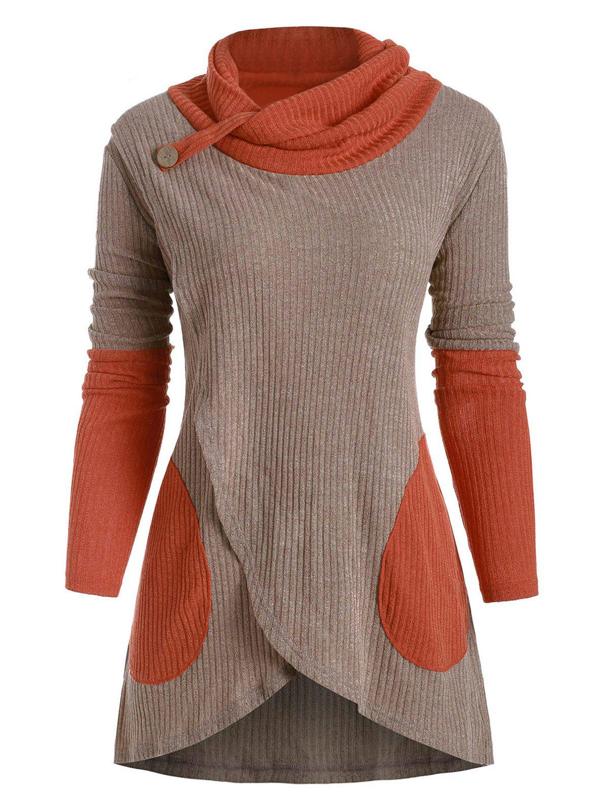 Cheap Colorblock Cowl Neck Overlap Long Sleeves Knitwear